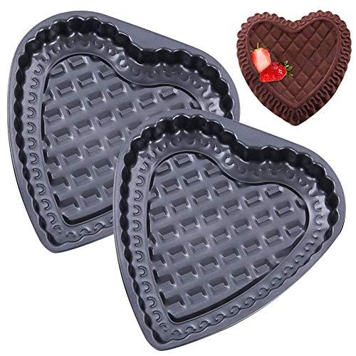 WENTS Herzförmige Kuchenform 2 Stück Kohlenstoffstahlform Herzbackform Backformen Kuchenform Backform Backen Gebäck Schokolade Gelee Mousse Brot herzhafte Kuchenform