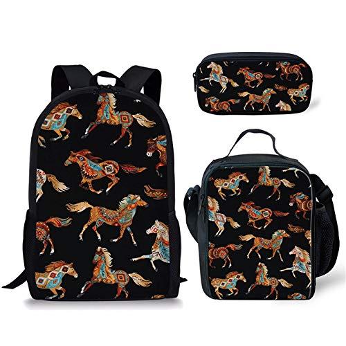Sapotip Juego de 3 bolsas escolares con estampado de caballo de estilo bohemio para niños y adolescentes, mochila de hombro + bolsa de almuerzo + estuche para lápices