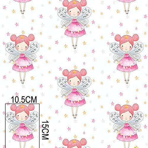 Pingianer - Tela para niños 100% algodón, por metros, artesanía, tela de costura, diseño de hadas y estrellas
