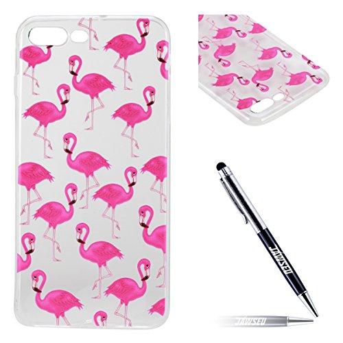 Custodia iPhone 7 Plus Silicone, Custodia Cover per iPhone 7Plus in Silicone Transparente, JAWSEU Creativo Disegno Ultra Sottile Slim Cristallo...