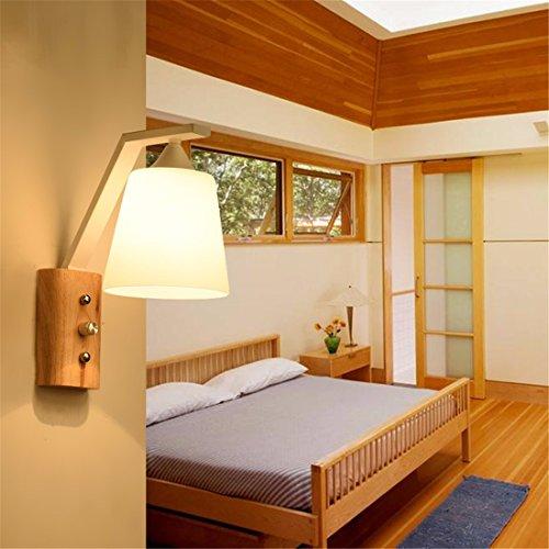SiwuxieLamp applique murale Lampe de chevet d'allée en bois massif moderne minimaliste, blanc lumière support