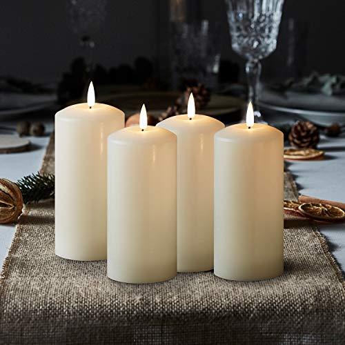 Lights4fun 4er Set TruGlow® LED Kerzen Adventskranz mit warmweißer LED Flamme 15cm batteriebetrieb