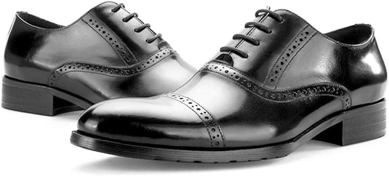 KTYXGKL Les hommes d'affaires en cuir rétro britanniques ont sculpté des chaussures Oxford chaussures pointues chaussures habillées fond épais chaussures habillées 38-44 verges Bottes en cuir pour hom