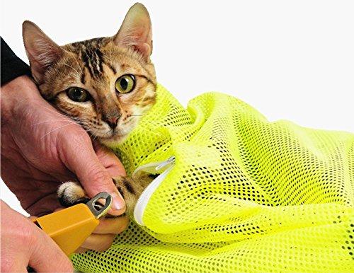 TECH-P Creative Life Réglable Multifonctionnel Polyester Chat Lavage Douche Maille Sacs Pet Pet Coupe-Sacs-Jaune
