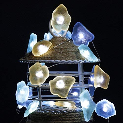 Impress Life Decorative String Lights, Sea Glass Festive Beach Themed 10 ft 40 LEDs Battery&USB Cord Operated Eco-Friendly with Multi-Function Remote for Tent Wedding Nursery Bedroom Party Ornament 3