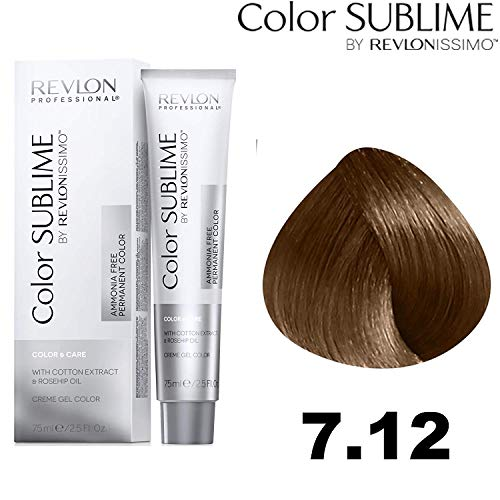 Revlon Professional Color Sublime By Revlonissimo Color&Care Ammonia Free Permanent Color 7.12, Irisierendes Blond , 1er Pack (1 x 75 ml)