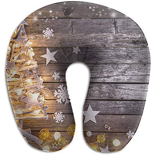 Hao-shop Tablero de Madera Almohada Tipo U con Estampado de árbol Almohada de Cuello de Espuma para Viajar Moda de Dolor de Cuello con Material Resistente