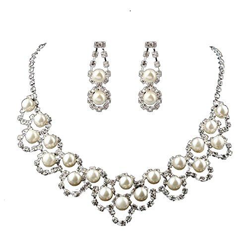 Unbekannt Brautschmuck Set Collier Halskette Perlen Strass Hochzeit Braut SCHMUCK Hochzeit