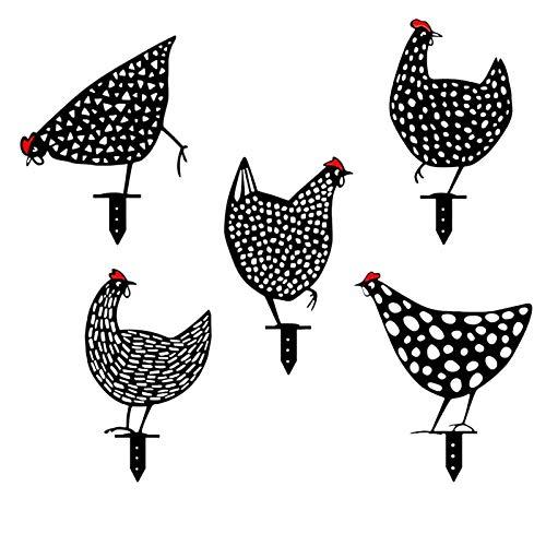 LGYKUMEG Für Haus Hahn und Henne zum Stecken Garten Dekoration Gartenstecker Huhn Gartenfiguren, Hahn und Henne Deko,Gartenstecker Metall Huhn,Schwarz