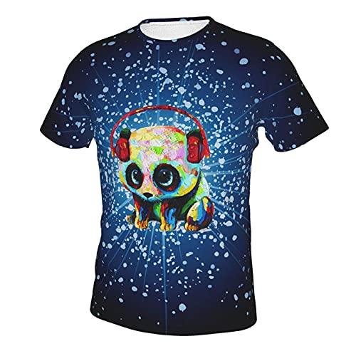 ABCEEEK Arte De Pintura Al óleo Decorativa Abstracto Panda Hombres Tops Manga Corta Cuello Redondo Algodón Tee Tops Clásico Xx-Grande