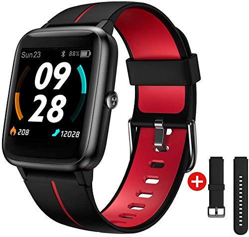 Smartwatch GPS,Fitness Tracker Fitness Armbanduhr Pulsuhr 5ATM Wasserdicht Touch-Farbdisplay Sportuhr Smart Watch Schrittzähler,Stoppuhr Wettervorhersage Schlafmonitor für Herren Damen für iOS Android