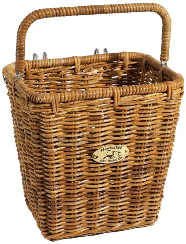 Find Bargain Nantucket Bicycle Basket Co. Cisco Pannier Basket with Hooks, Honey
