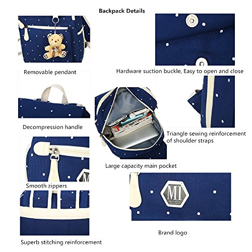 Adanina Wave Point Canvas Student Backpack Elementary Casual Book Bag