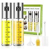 Oil Sprayer for Cooking 2 Pack, JOMARTO 100ml Olive Oil Spray Mister Set Glass Oil Bottle with...