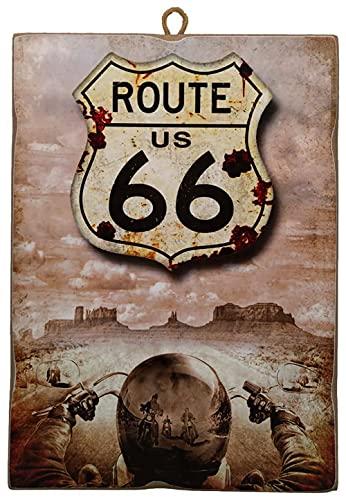 KUSTOM ART Cuadro de estilo vintage, placa Route 66, de colección, impresión sobre madera