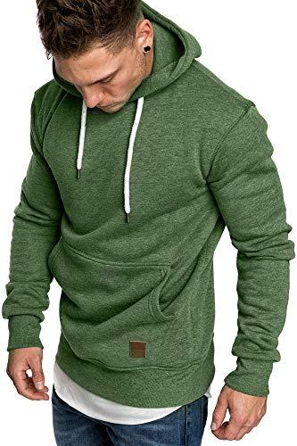 Amaci&Sons Herren Basic Kapuzenpullover Sweatjacke Pullover Hoodie Sweatshirt 4023 Grün S