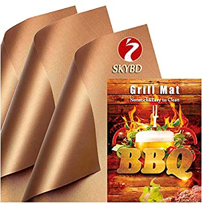SKYBD Copper Grill Mat (Set of 3) Non-Stick BBQ Grilling &Baking Mats for Gas, Charcoal, Electric Grill Sheet - Reusable and Easy to Clean-15.75 x 13 Inch