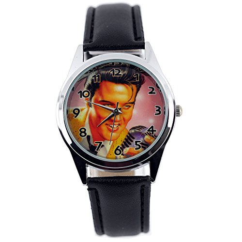 taport® Elvis Presley Quarz Runde Uhr Schwarz Echt Leder Band Farbe Zifferblatt + Gratis Ersatz Batterie + Gratis Geschenkverpackung