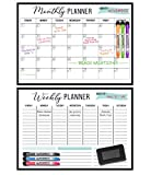 Extra Large Magnetic Weekly and Monthly Dry Erase Planners for Refrigerators. 17x12' Fridge Calendars with 6 Color Fine Tip Markers and Whiteboard Eraser. Plan Meals, Chores or Home School Classes.