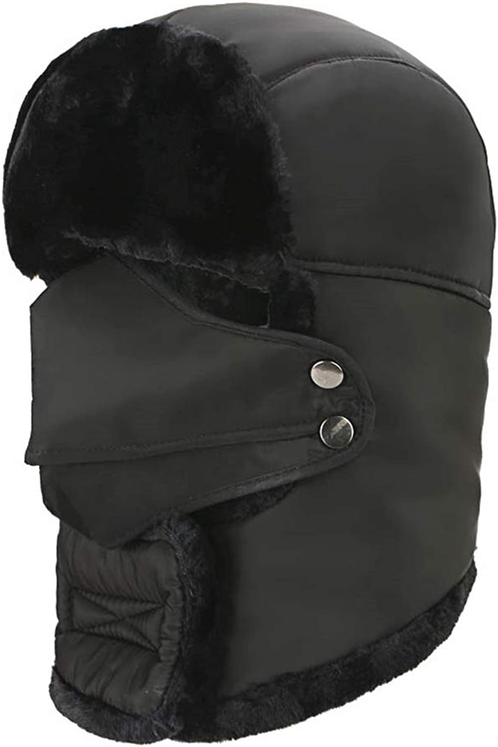 Outdoor Hat,Unisex Winter Trooper Trapper Bomber Hat Keeping Warm While Skating Skiing (color   Black)