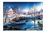 EACHHAHA Puzzle 1000 Piezas,Aurora de la Noche de Nieve Puzzles para Adultos, Puzzle París,70x50CM,Rompecabezas de Piso Juego de Rompecabezas y Juego Familiar