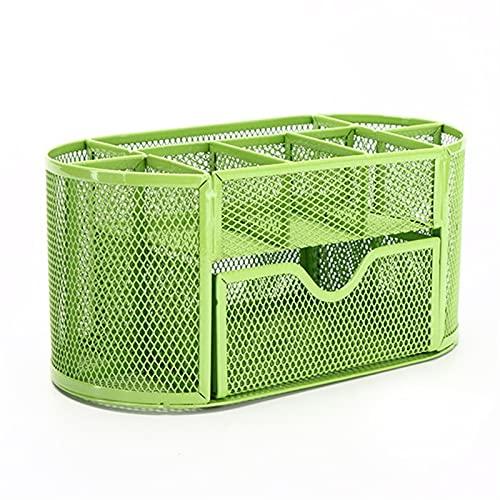 ZYZ Portalápices de Escritorio Portalápiz de Metal de Malla Multifuncional con 1 cajón Organizador de papelería para Estudiantes de Alta Capacidad Material de Oficina (Color : Green)