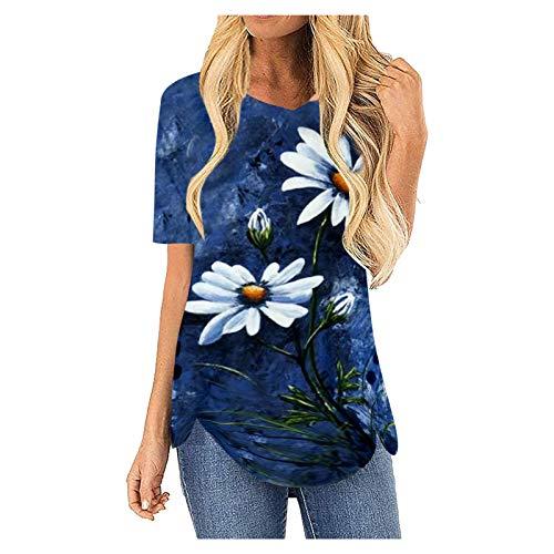 YANFANG Blusa Estampada Floral De Manga Corta Las Mujeres Imprime La Suelta Camiseta del O-Cuello Ocasional,Blusas Y Camisas Mujer Primavera,Blusas Verano,Blusas,Azul,XL