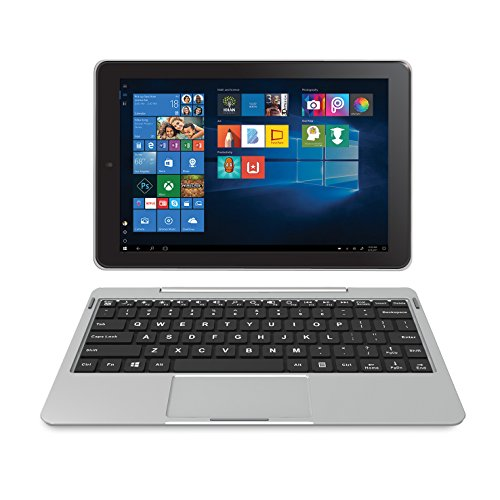 "RCA Cambio 10.1"" (2-in-1) Windows 10 Touchscreen Tablet/Notebook - Detachable Keyboard & Dual Camera - 32GB, Bluetooth (W101-CS, Silver) (Best Inexpensive Windows Tablet)"