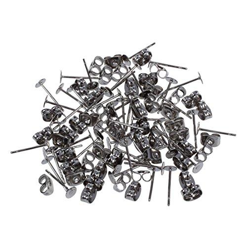Gesh 25 pares de pendientes de acero de 11 x 4 mm