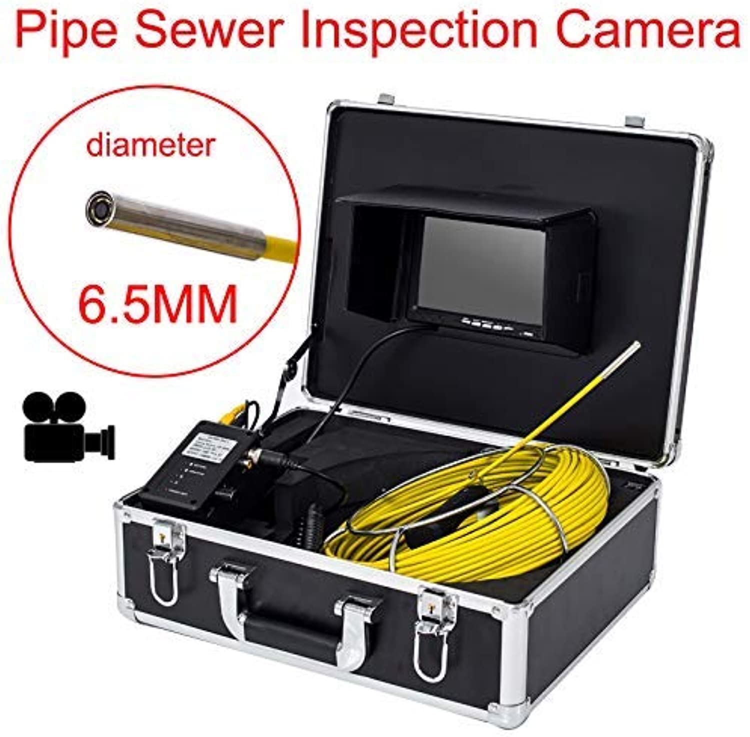 7 inch 6.5mm Industrial Pipeline Sewer Detection Camera IP68 Waterproof Drainage Detection 1000 TVL Camera DVR Function (20M)
