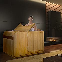 woman seated in the best half infrared sauna