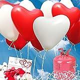 galleryy.net 35 Herzballons Hochzeit ROT & Weiss Komplettset 35 Herzluftballons + Helium Einwegflasche + 50 Ballonflugkarten für Luftballons zur Hochzeit
