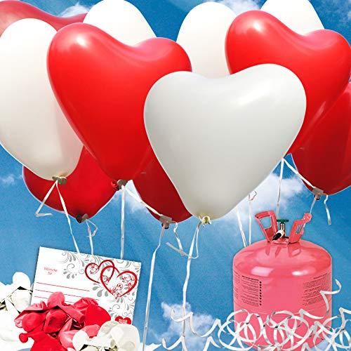 galleryy.net 35 Herzballons Hochzeit ROT & Weiss Komplettset 35 Herzluftballons + Helium...