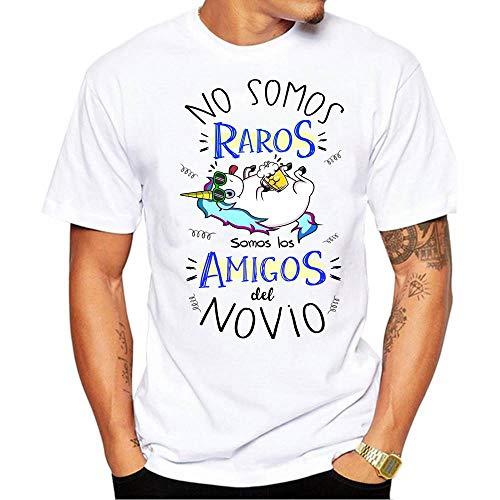 FUNNY CUP Camiseta No Somos raros Somos los Amigos del Novio. Divertida para Despedidas de Soltero
