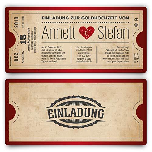 10 x Goldhochzeit Hochzeitseinladungen goldene Hochzeit Einladungskarten individuell - Vintage Herz Rot