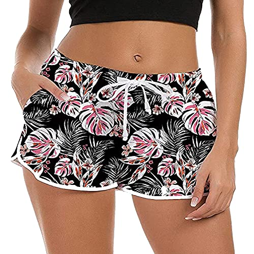 ZIOOER Bañador para mujer de verano, con gráficos 3D, secado rápido, pantalones cortos para playa, pantalones cortos para jogging y yoga, tallas S-XL Negro M