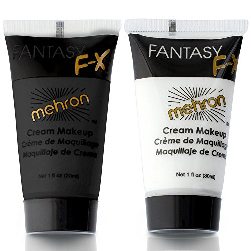 Mehron Makeup Fantasy F/X Water Based Face & Body Paint Black and White Face Paint Bundle