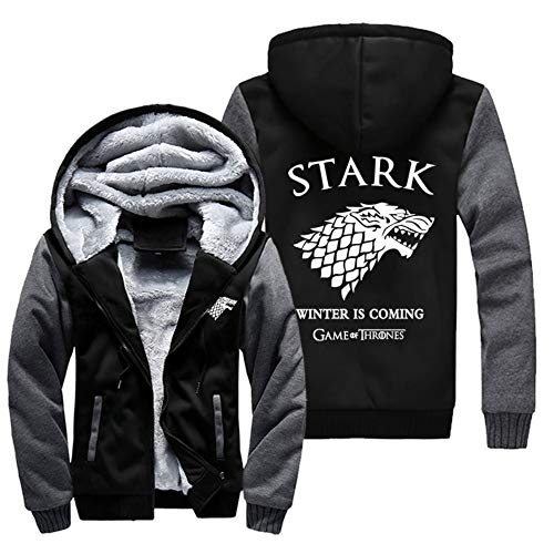 Game of Thrones Stark Unisexe Homme Automne Hiver Sweats à Capuche Epaisse Chaud Veste à Capuche Doublée Polaire Manteaux (10,EU L(Asian 2XL))