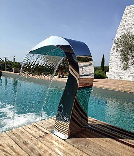 Cascade acero inoxidable 316 - Fuente de piscina para estanque, modelo medio corazón, altura 60 cm, ancho 30 cm