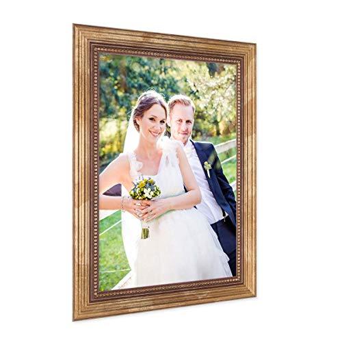 PHOTOLINI Bilderrahmen 21x30 cm/DIN A4 Gold Barock Antik Massivholz mit Glasscheibe und Zubehör/Fotorahmen/Barock-Rahmen