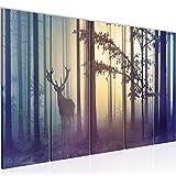Bilder Wald Hirsch Wandbild 200 x 80 cm - 5 Teilig Vlies - Leinwand Bild XXL Format Wandbilder Wohnzimmer Wohnung Deko Kunstdrucke Blau - MADE IN GERMANY - Fertig zum Aufhängen 013455a