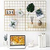 BULYZER Grid Wall, para Memo Decoración de panel de imagen para sala de oficina Colgante de fotos Marcos de exhibición de arte Almacenamiento de escritorio, 25.6 '' x 17.7 '' Dorado