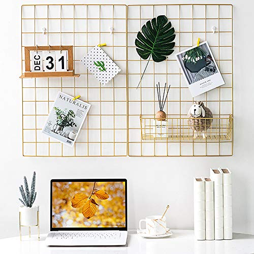 BULYZER Grid Wire Board,for Memo Picture Panel Wall Decoration for Room Office Mat Photo Hanging Art Display Frames Desk Storage Organizer,25.6'' x 17.7''(2Pack) (Gold)