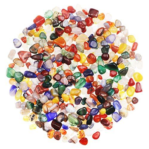 YiYa Colores Mezclados Piedra de ágata Piedra triturada Piedra Preciosa Utilizado para la decoración del hogar llenado de jarrones decoración de Fondo en macetas para Piscinas (310g / Bolsa)