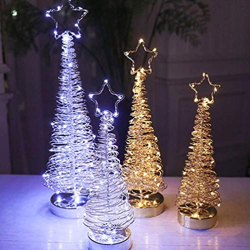 ZSML 1PC Árbol de Navidad Luces de Noche Hierro Forjado Led Alambre Árbol de Navidad Árbol de Escritorio Creativo Luces para decoración de Navidad Regalo de Fiesta, Plata