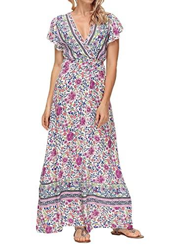 Acramy Damska sukienka w kwiaty, długa, letnia sukienka w stylu boho, z krótkim rękawem, dekolt w kształcie litery V, sukienka plażowa z