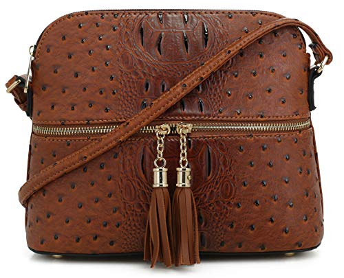SG SUGU Crocodile Pattern Lightweight Medium Dome Crossbody Bag Shoulder Bag with Tassel | Brown