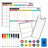 4 Pack Dry Erase Magnetic White Board Calendar Kit, Feela 2021 Monthly Weekly Calendar for Wall Refrigerator, Office Supplies with 8 Magnetic Erase Markers, 1 Eraser, 10 Stickers for Schedule Planner