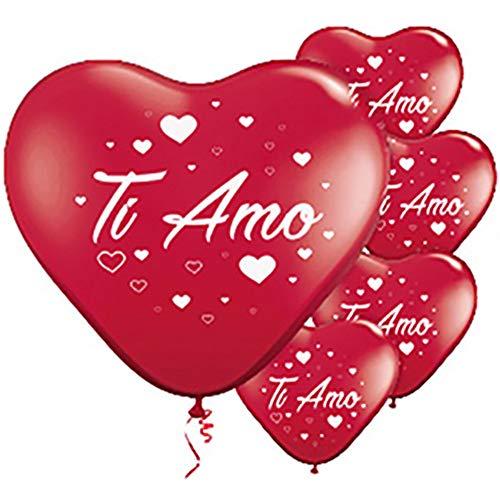 ocballoons - Globos con forma de corazón rojo Ti Amo 16 uds.