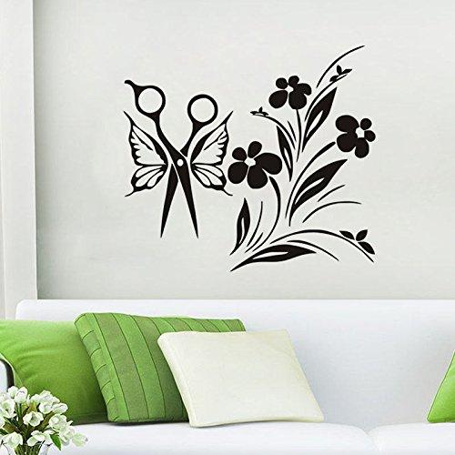 PSpXU Schere und Flügel Bouquet Wandaufkleber Vinyl abnehmbare Wandtattoo Schönheitssalon Wandaufkleber wasserdichte Tapete Wandbild 57x63cm